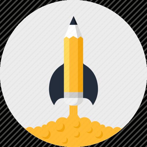 astronomy, imagination, pencil, research, rocket, school, startup icon