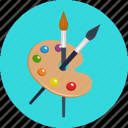 art, brush, color, education, paint, painting, palette icon
