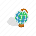 earth, global, globe, isometric, map, planet, travel icon