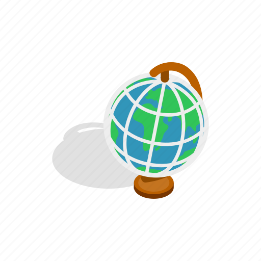 earth, global, globe, isometric, map, planet, travel icon