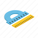 education, geometry, isometric, plastic, protractor, ruler, tool icon