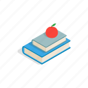 apple, book, education, isometric, knowledge, school, stack icon