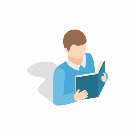 book, education, isometric, person, student, study, young icon