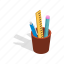color, cup, education, isometric, pen, pencil, school