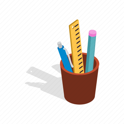 color, cup, education, isometric, pen, pencil, school icon