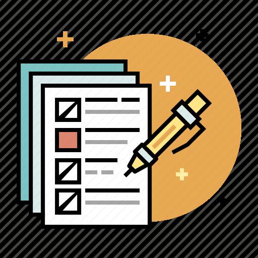 checklist, education, exam, questionnaire, quiz, survey, test icon
