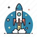 business, development, launch, rocket, start, startup, up icon