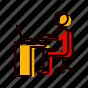 laptop, on, using, work, working icon