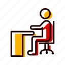 desk, office, on, sitting, work icon