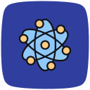 atom, chemistry, experiment, magnifier, microscope, research, search icon