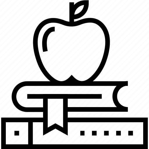 apple, book, knowledge, library, notebook, power of knowledge, study icon