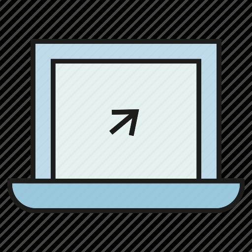 arrow, click, computer, electronic, laptop, pointer, screen icon