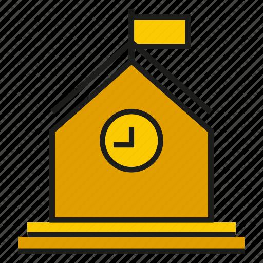building, clock, flag, learn, school, study icon