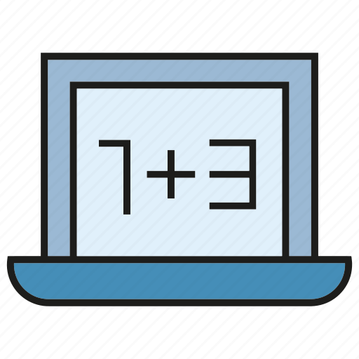 compute, computer, laptop, maths, number, screen icon
