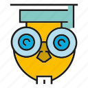 bird, graduation, learn, owl, read, study icon