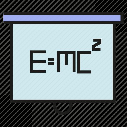 compute, learn, lecture, physics, slide, study, white board icon