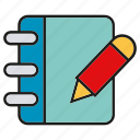 book, note, pen, pencil, write icon