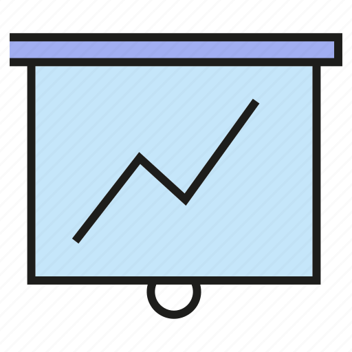 chart, finance, graph, lecture, slide, study, white board icon