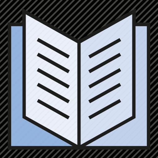 book, open book, paper, read icon