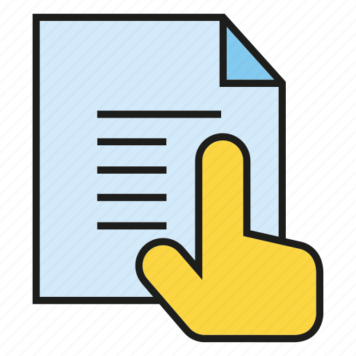 click, hand, note, paper, read, touch icon