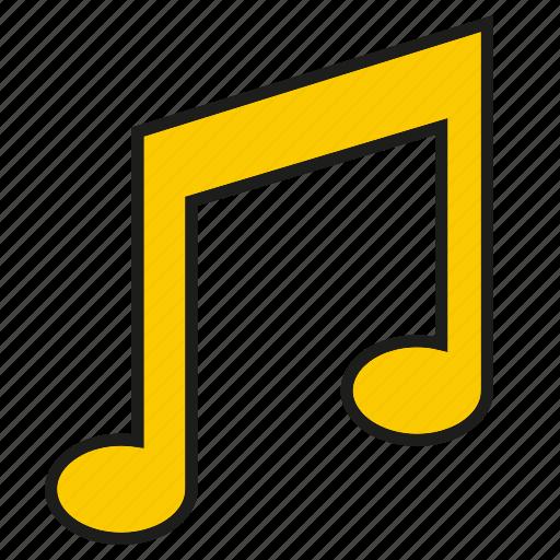 key, music note, sound icon