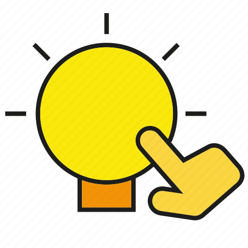 bulb, creative, hand, light, think, touch icon