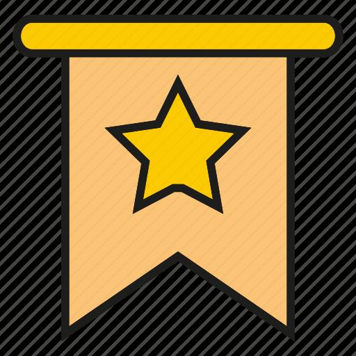 book mark, label, ribbon, star icon