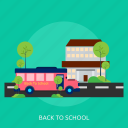back, bag, bus, homework, school, transportation icon