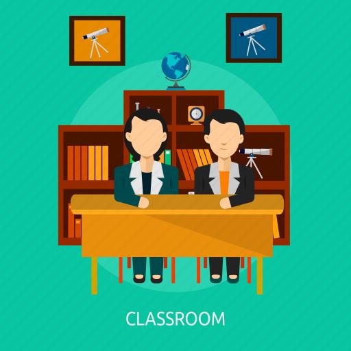classroom, in, school, student, teacher icon