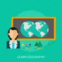 education, geography, learning, lesson, map, world icon