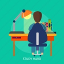 school, study, hard, book, brainstorming, learning, education