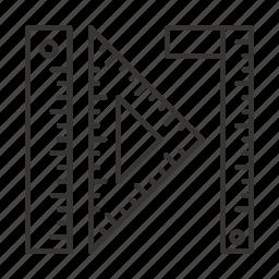 arrow, design, geometry, ruler, shape, triangle icon