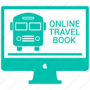 airplane, booking, bus, online, online travel book, transportation icon