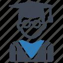education, graduation, mortar board, student icon