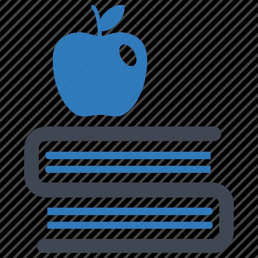 apple, book, education, school icon