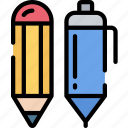 and, education, equipment, essentials, pen, pencil, supplies icon