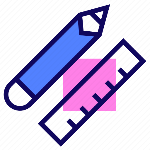 pencil, ruler, stationery, tools icon