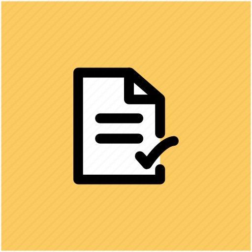 checkmark, document accepted, document checked, document verified, paper, sheet icon