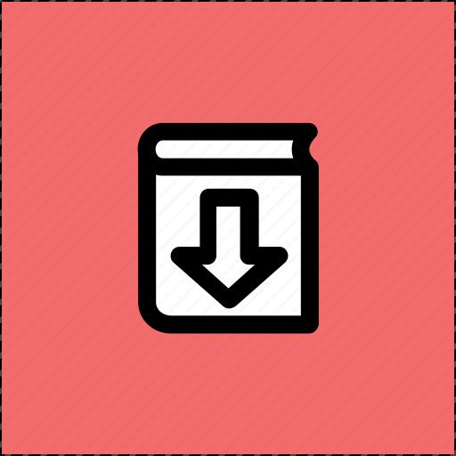 book download, book downloading, down arrow, ebook, online book icon