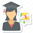 female, girl, graduate, graduation, student icon