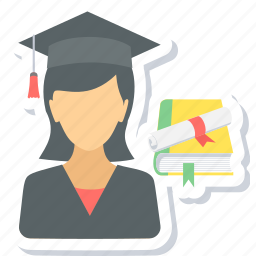 female, girl, graduate, graduation, student icon