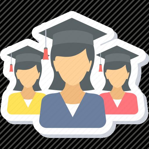 education, girls, graduate, graduation, group, student, university icon