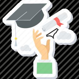 certificate, degree, diploma, education, graduate, graduation icon