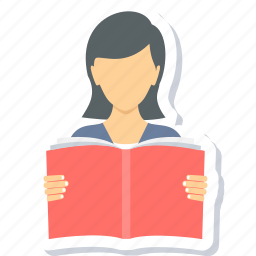 education, girl, learning, reading, student, study, studying icon