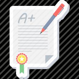 first, grade, pass, report, result, star, winner icon