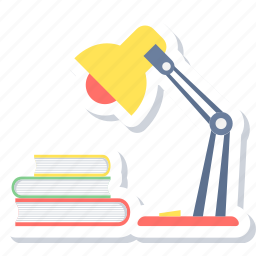desk, lamp, reading, study, study table, table icon