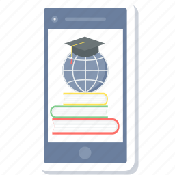 education, graduate, learning, mobile, smartphone, study icon