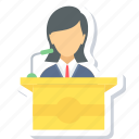 speech, girl, message, podium, speak, student icon