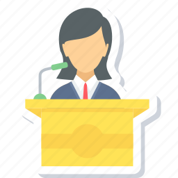 girl, message, podium, speak, speech, student icon
