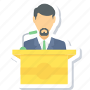 boy, male, message, podium, speech, student icon